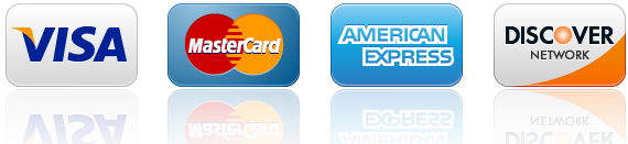 Online Credit Cards Accepted: Visa, Master Card, American Express & Discover Card