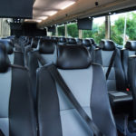 Luxury Bus With Leather Black and Grey Seats with Seatbelts